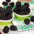 Sweet blackberry on wooden table — Foto Stock