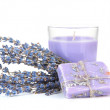 Lavender candle with soap and fresh lavender, isolated on white — Stock Photo