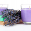 Lavender candle with soap and fresh lavender, isolated on white — Stock Photo #29313539
