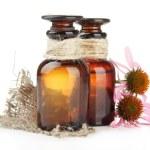 Medicine bottles with purple echinacea, isolated on white — Stock Photo #29314089