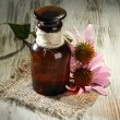 Medicine bottle with purple echinacea flowers on wooden table — Stock Photo