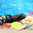 Conceptual image of summer holidays. On sea background — Foto de Stock