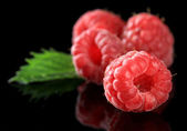 Ripe sweet raspberries on dark background — Stock Photo