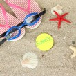 Composition with flip flops, goggles on sand background — Stock Photo