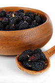 Ripe mulberries in bowl and spoon isolated on white — Stock Photo