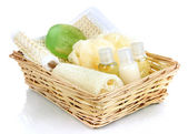 Set for spa in wicker basket, isolated on white — Stock Photo