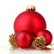 Stock Photo: Beautiful red Christmas balls and cones isolated on white