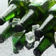 Bottles of beer with ice cubes, close up — Stock Photo #29457519