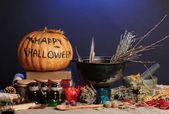 Scary halloween laboratory in blue light — Stock Photo