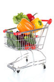 Fresh vegetables in trolley isolated on white — Zdjęcie stockowe