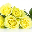 Stock Photo: Beautiful bouquet of roses isolated on white