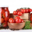 Stock Photo: Tasty canned and fresh tomatoes, isolated on white