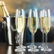 Stock Photo: Champagne in glasses in restaurant