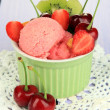 Delicious ice cream with fruits and berries in bowl on wooden table — Stock Photo #29522705