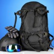Winter sport glasses, helmet and gloves, backpack, on blue background — Stock Photo #29522947