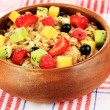 Stock Photo: Oatmeal with fruits close-up