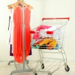 Shopping cart with clothing, on gray wall background — Stock Photo #29523929