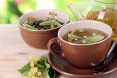 水壶和杯茶与自然背景上的木桌子上的林登 — 图库照片