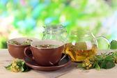 Bollitore e tazza di tè con tiglio sul tavolo di legno su sfondo di natura — Foto Stock