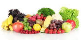 Different fruits and vegetables isolated on white — Stock Photo