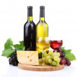 Bottles and glasses of wine, assortment of grapes and cheese isolated on white — Stock Photo #29531591