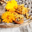 Fresh and dried calendula flowers on wooden background — Stock Photo #29532041