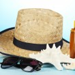 Stock Photo: Beach items on beach background