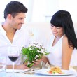 Beautiful couple having romantic dinner at restaurant — Stock Photo #29532725