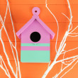 Decorative nesting box with color branches, on color wooden background — Stock Photo