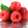 Ripe sweet raspberries with drops, close up — Stock Photo #29533895