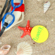 Stock Photo: Composition with lifebuoy, goggles on sand background