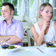 Stock Photo: Lovers being unhappy because of troubled date