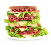 Huge sandwich, isolated on white — 图库照片