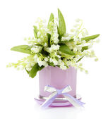 Beautiful lily of the valley in vase isolated on white — Stock Photo