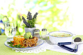 Soup and rice with meat in plates on napkin on tablecloth on nature background — Stock Photo