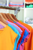 Variety of casual t-shirts on wooden hangers on shelves background — Stock Photo