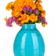 Stock Photo: Bouquet of marigold flowers in vase isolated on white