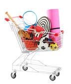 Carrinho de compras com equipamentos de esporte, isolado no branco — Fotografia Stock