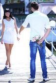 Beautiful young romantic couple — Stock Photo