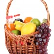 Different fruits in wicker basket with juice isolated on white — Stock Photo