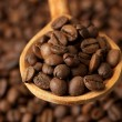 Stock Photo: Coffee beans in wooden spoon, close up