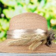 Beautiful summer hat with spikelets on green background — Stock Photo