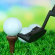 Stock Photo: Golf ball and driver on green grass outdoor close up