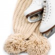Figure skates with scarf isolated on white — Stock Photo