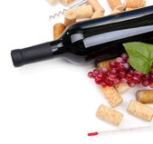 Bottle of wine, grapes and corks, isolated on white — Stock Photo