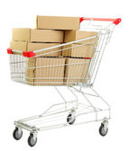 Shopping cart with carton, isolated on white — Stock Photo