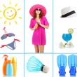 Collage of beautiful girl and things for summer holiday — Stock Photo