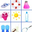 Stock Photo: Collage of things for summer holiday