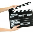 Stock Photo: Movie production clapper board isolated on white