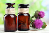 Medicine bottles with thistle flowers on nature background — Stock Photo